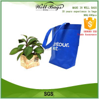 Customized silkscreen printing blue PP Non woven advertising logo Reusable shop Bags