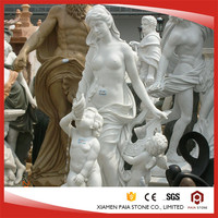 Outdoor Hand Carved White Marble Angels Statue