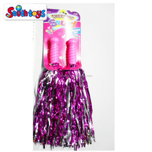Metallic Shiny pink Cheerleader Rooter Shaker Toy Pom Poms