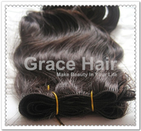 brazilian virgin human hair hand tied weft wavy hair
