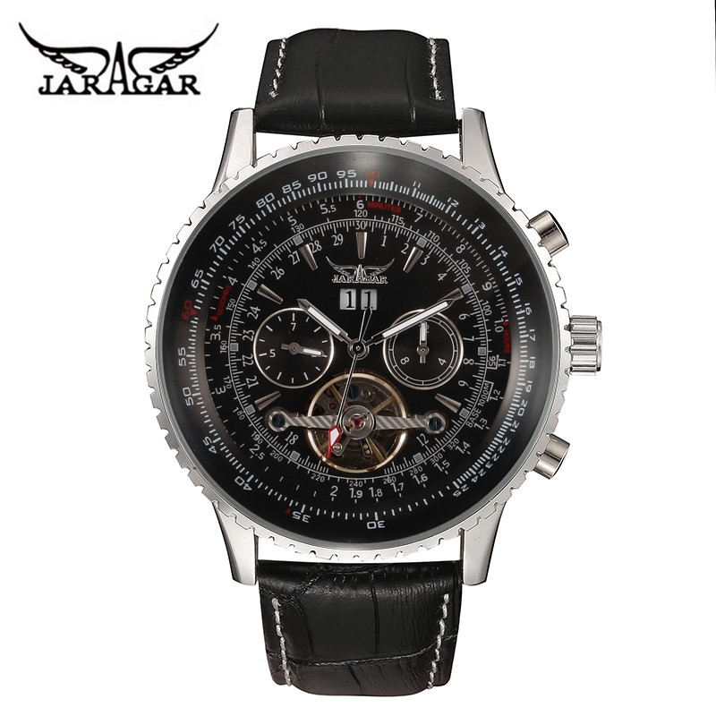 High quality JARAGAR automatic sefl-wind watches genuine leather band wristwatch alloy metal back case male mechanical watch