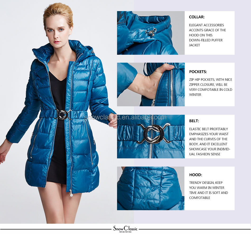 High quality female fashion design woman jacket winter coat parka