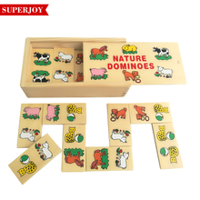 kids funny wooden domino set ,28pcs animal wooden puzzle box