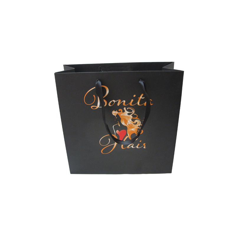 China wholesale custom printed black paper bag with handle