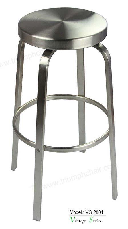 2017 New arriving Durable commercial furniture Stainless Steel Round Seat High Bar Stool
