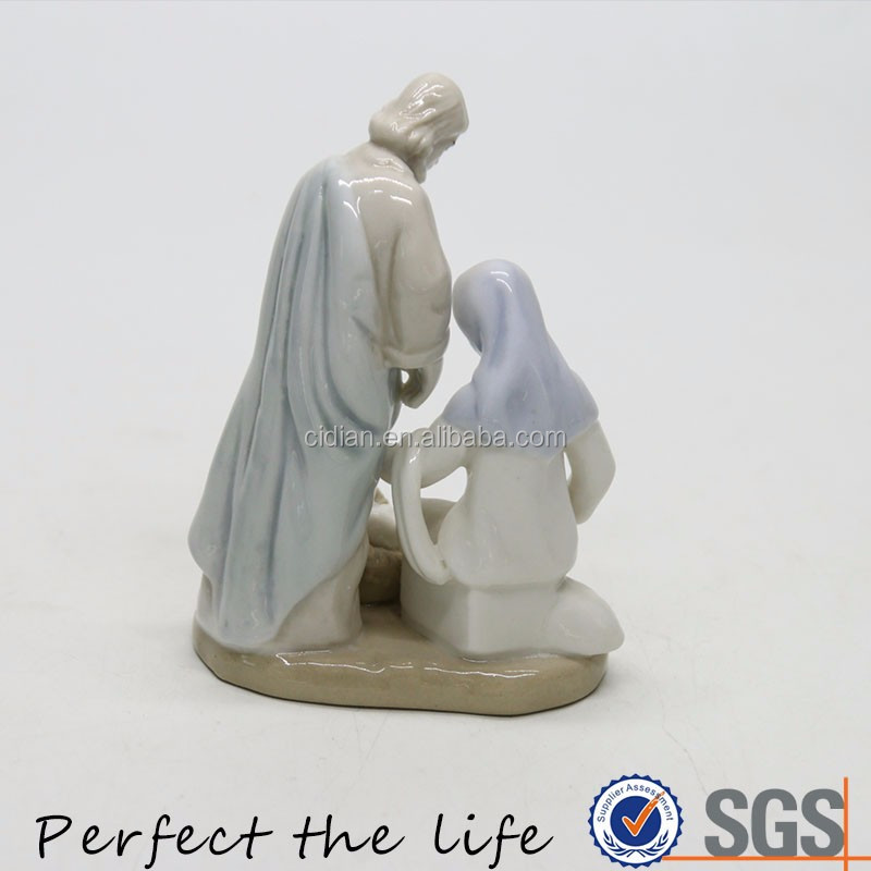 Parents care for the baby figurine guardian angel statue