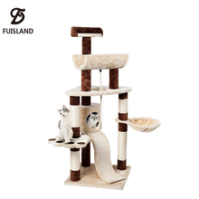 Adujustable Natural Cat Tree House Plush With Ladder Scratching Post