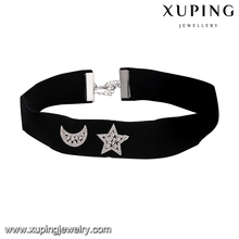 00548 Xuping black fabric simple choker necklace , neckless necklace with moon and star