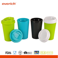 Everich 470ml custom double wall plastic tumbler mug with cover 2 kinds