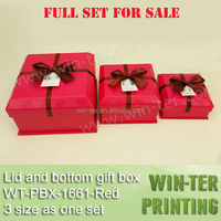 WT-PBX-1661-red Wholesale red color lid and bottom gift box