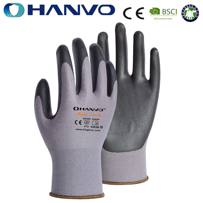 HANVO Wholesale Price Nylon Dipping Foam Nitrile Mechanical Work Gloves