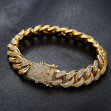 2017 fashion men cuban link chain jewelry factory bulk custom diamond miami cuban link bracelet JF15