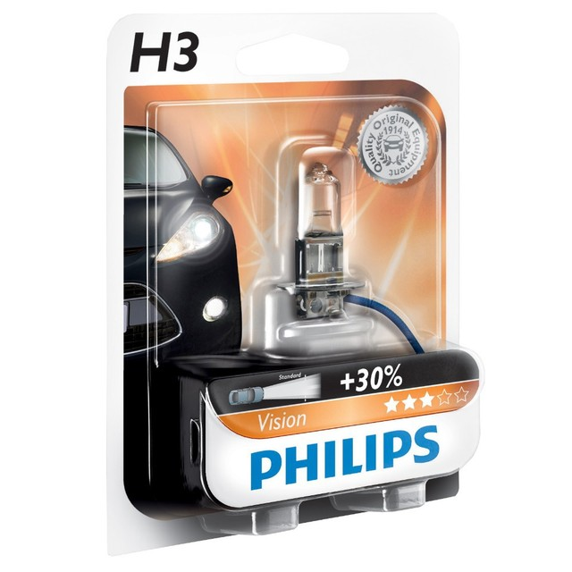 Genuine Philips Vision H3 Halogen Bulb (Single) 12336PRB1 - Also available in H1 & H7