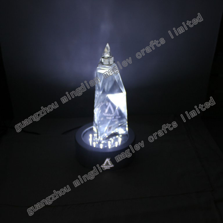 acrylic led bottle display sparkling wine stand , 360 degree bottle stand , rotating led lighted bottle display