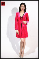 Fancy fashion red color winter sleepwear long sleeve chinese pajamas