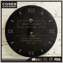 Handmade Wholesale Cheap Natural Slate Stone Clock Without Battery