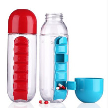 600ML Water Bottle Sports Combine Daily Pill Box Organizer Drinking Bottles with Leak-Proof Cup