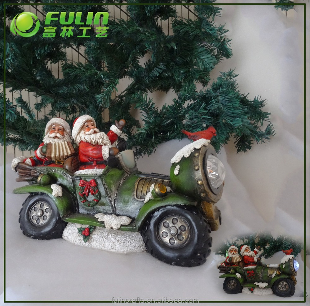 Santa On Motorcycle Resin Moving Christmas