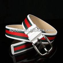 2014 championship Fashion White Green Red Stripe men and women Canvas Pin Buckle Belt Waistband