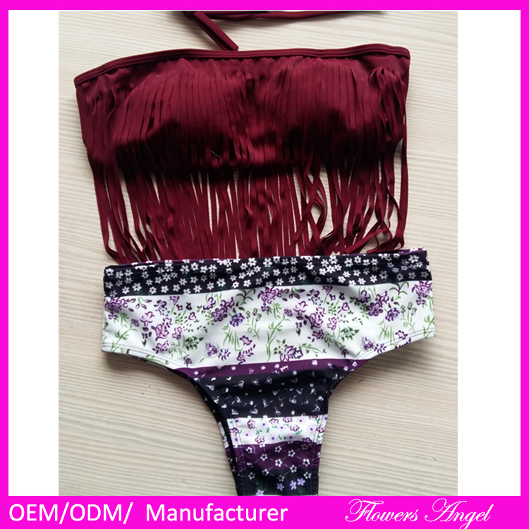 Young Girls Top Skirt OEM printed Bikinis models wholesale open Full Sexy Bikini Girl