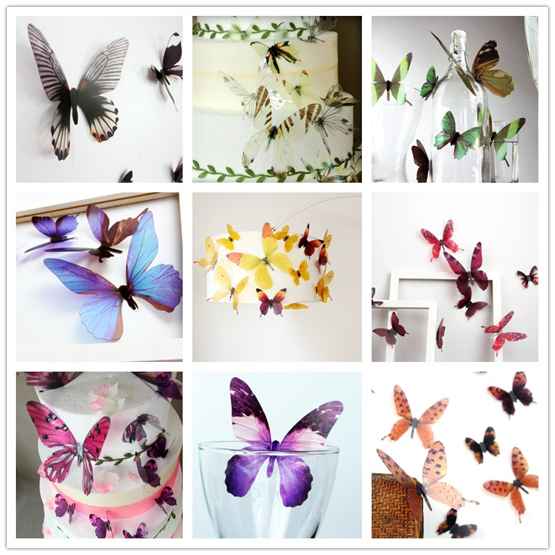 Butt003 3D Colorful Semitransparent Paper Butterfly Wings Decoration Artificial Butterfly