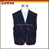 Fashion designer work vest uniform safety multi pocket fishing vest
