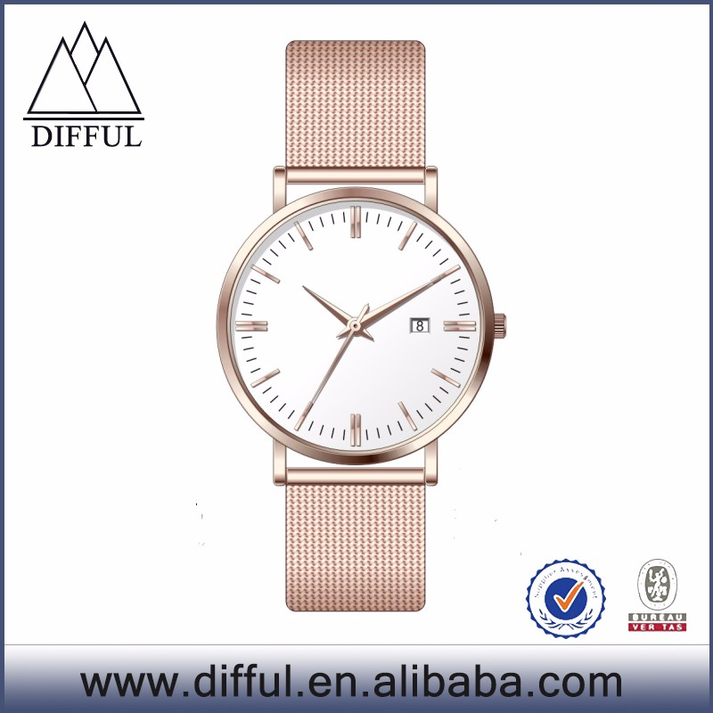 Create your own brand details quartz watches custom rose gold mens mesh watches