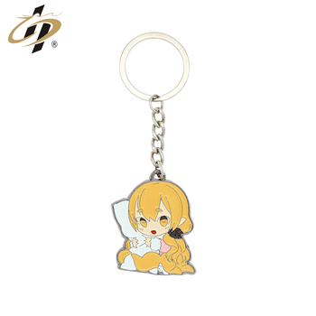 Promotional cheap sale metal baby girl keychain with gift box