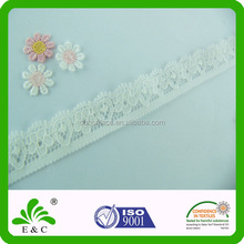 New Type Folded Yarns Pure Color White Elastic Lace