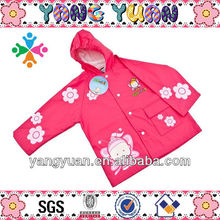 Waterproof Printed Pink Cute Girl PU Raincoat