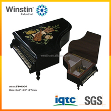 2017 High lacquer Handmade Wood Inlaid Piano shape Music Boxes