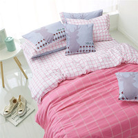 Classic Grids and Checks Cotton Bedding Sets Pink/Yellow