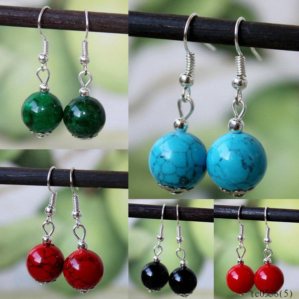 Simply colored imitation beads ball wholesale fashionable silver jewelry earrings
