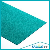 3mm blue green uv polycarbonate sheet with ten years warranty (embossed),plastic building construction roofing materials sheets