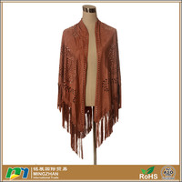 Womens Caftan Poncho Cover Up Light Weight Faux Suede Scarf Pashminas