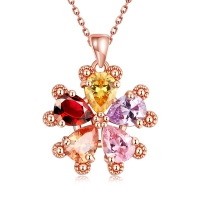 SJCN090 Valentine Day Gift Bling Pear Cut Cubic Zirconia Prong Setting Five Petal Flower Clavicle Dangle Pendant Necklace
