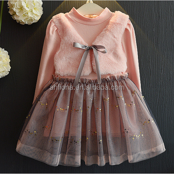 F10255A Girls fake two pieces small vest gauze dress beautiful children boutique clothing