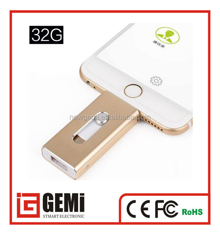 Metal otg usb flash drive for iphone 6 inphone 6plus 7 android cell phones smart phone U disk 32gb