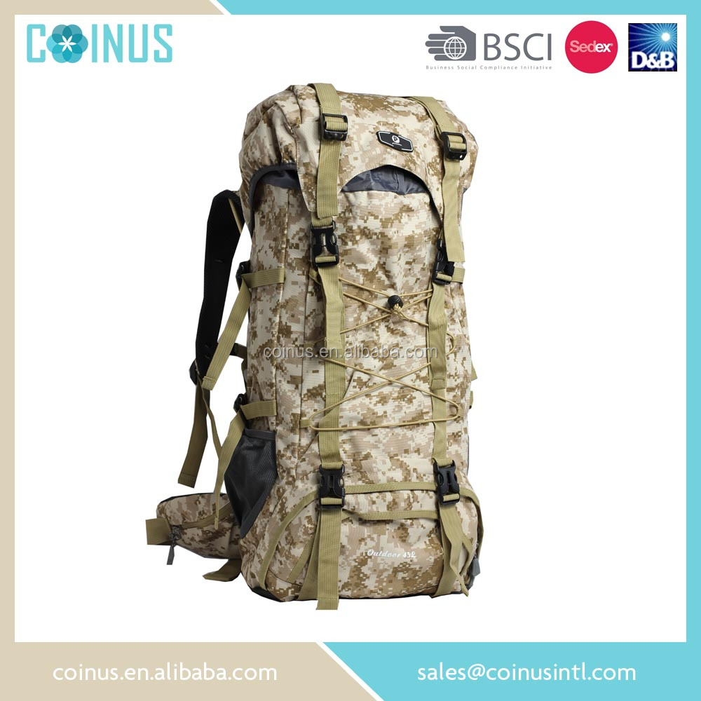 China outdoor supplier custom sand camping backpack