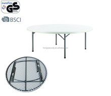 2meter white Plastic Outdoor Round Table Lightweight Suitcase wedding events Folding dining Table
