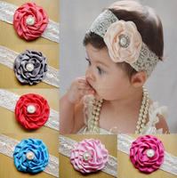 Kids Baby Girl Toddler Lace Rose Flower Headband Wide Band Hairband Soft Elastic Hair Band Headwear Accessories