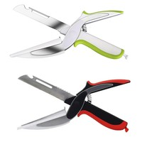 2 in 1 Multi Functions Food & Vegetable Kitchen Cutter Tool Stainless Steel Cutting Board Scissors & Cutting Knife Green