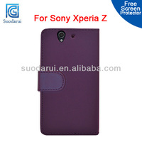 For Sony Xperia Z L36H Wallet Leather Case Pouch Cover With 2 Card Slots Flip Case For Sony Xperia L S36H