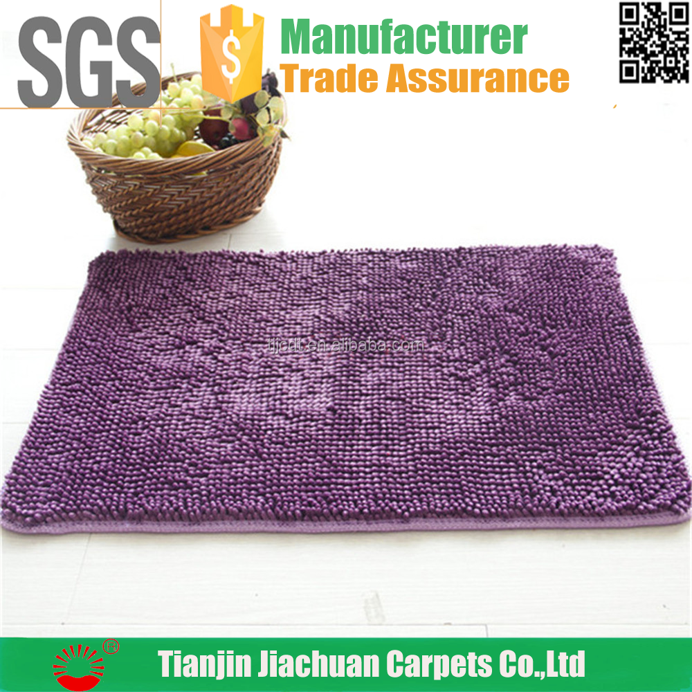 polyester cheap pvc back antislip water absorbent chenille bathmat