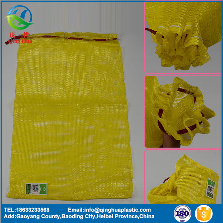 PP tubular mesh bag with string for garlic