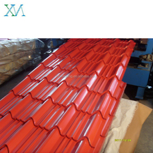 Red Color coated steel archaized glazed roof tile for zinc steel sheet