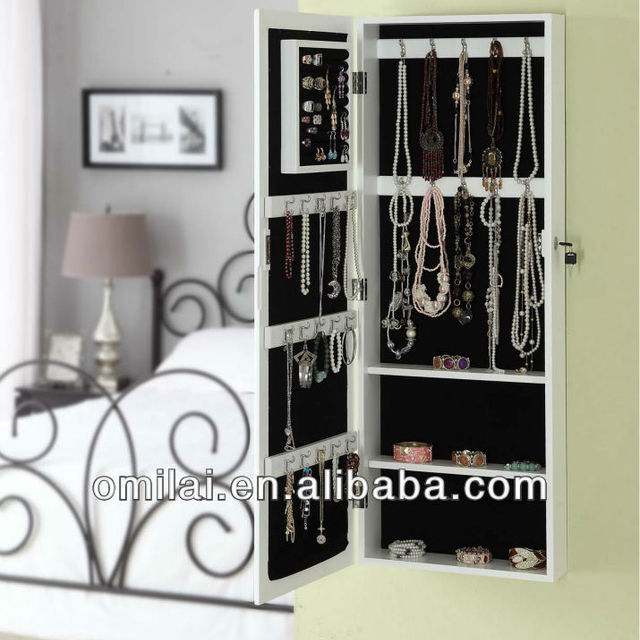 wooden white antique Wooden high quality jewelry storage mirror wall cheval mirror