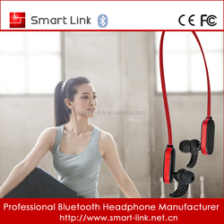 Smallest V4.0 waterproof stereo Bluetooth earphone with reflective cable for night running
