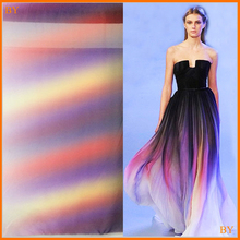 100d rainbow obmre chiffon textiles wedding dress fabric