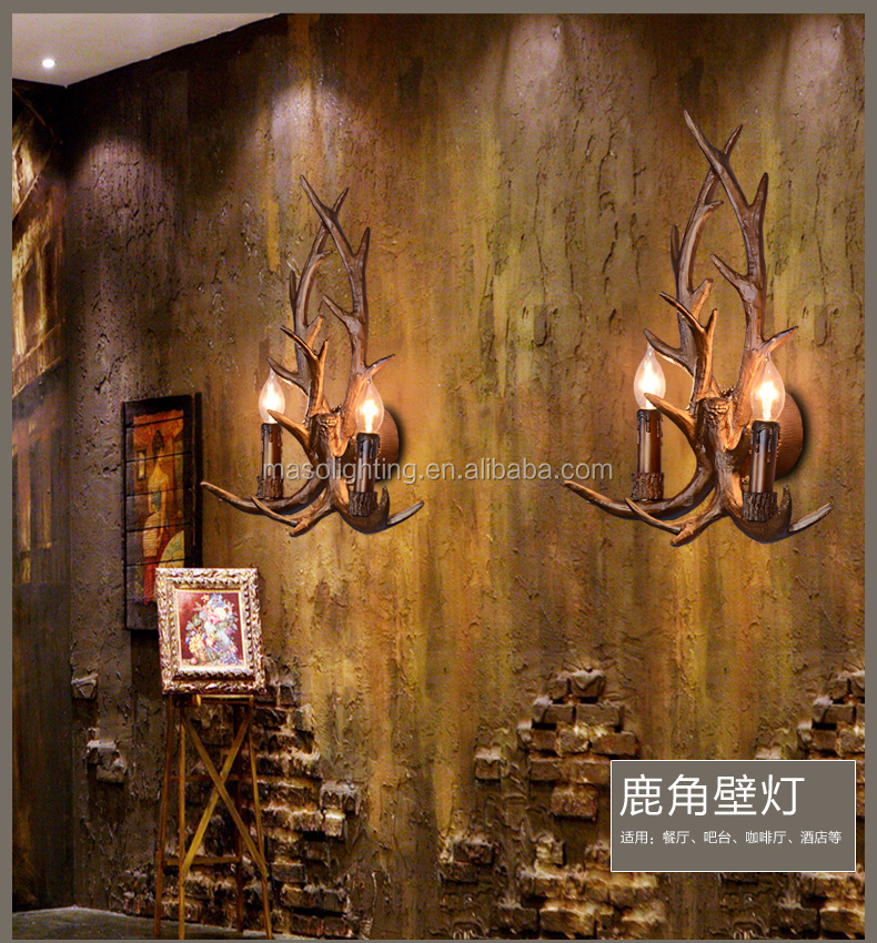 American Countryside style Resin Candle Wall Light for Hotel Home Resturant Church decorative Retro wall lamp